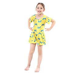 billige Badetøj til piger-Børn Pige Boheme Sport Blomstret Klassisk Stil Kort Ærme Polyester / Nylon / Spandex Badetøj Sort
