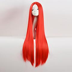 billiga Peruker och hårförlängning-Syntetiska peruker Rak Asymmetrisk frisyr Syntetiskt hår Naturlig hårlinje / Mittbena Röd Peruk Dam Väldigt länge Partyperuk Utan lock