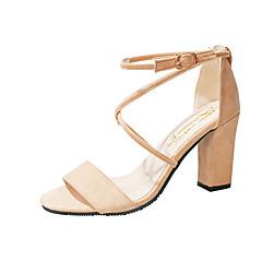 Mulheres Sapatos Couro Ecológico Primavera / Verão Conforto / Plataforma Básica Saltos Salto Robusto Ponta Redonda Preto / Rosa claro /