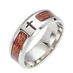 cheap Men's Rings-Men's Band Ring - Stainless Cross Fashion Jewelry Brown For Daily 6 / 7 / 8 / 9 / 10