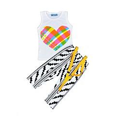 billige Tøjsæt til piger-Pige Daglig Ferie Stribet Trykt mønster Tøjsæt, Bomuld Sommer Uden ærmer Sødt Afslappet Hvid