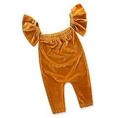billige Babytøj-Baby Pige Afslappet Daglig / I-byen-tøj Ensfarvet Stilfuldt / Tynd Uden ærmer Bomuld / Polyester Overall og jumpsuit Gul / Sødt
