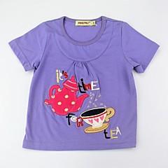 baratos Roupas de Meninas-Para Meninas Camiseta Diário Estampado Estampa Colorida Verão Algodão Manga Curta Fofo Activo Roxo Amarelo