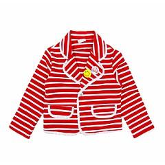 tanie Odzież dla dziewczynek-Garnitur / marynarka Bawełna Poliester Dla dziewczynek Codzienny Urlop Prążki Wiosna Jesień Długi rękaw Aktywny White Czerwony