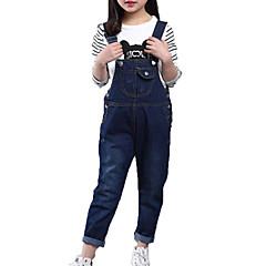 baratos Roupas de Meninas-Para Meninas Jeans Diário Sólido Primavera Outono Algodão Poliéster Sem Manga Simples Casual Azul