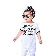 billige Babytøj-Baby Pige Simple I-byen-tøj Ensfarvet / Trykt mønster / Dyr Drapering / Trykt mønster Kort Ærme Bomuld Overall og jumpsuit / Sødt