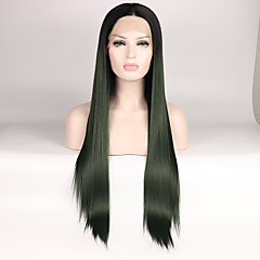 cheap Wigs & Hair Pieces-Synthetic Lace Front Wig Women's Straight Black Layered Haircut Synthetic Hair Color Gradient / Middle Part Black / Green Wig Mid Length Lace Front Black / Dark Green