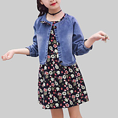 baratos Roupas de Meninas-Para Meninas Conjunto Diário Para Noite Floral Primavera Outono Raiom Manga Longa Casual Moda de Rua Azul