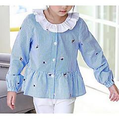 billige Pigetoppe-Børn Pige Ensfarvet / Stribet Langærmet Polyester Skjorte Blå 140