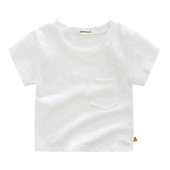 baratos Roupas de Meninos-Bébé Para Meninos Básico Feriado Sólido Manga Curta Algodão Camiseta