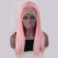 cheap Wigs & Hair Pieces-Virgin Human Hair Remy Human Hair Lace Front Wig Peruvian Hair Straight Pink Wig 150% Density with Baby Hair Silky Natural Hairline 100% Virgin Bleached Knots Pink Women's Long Human Hair Lace Wig