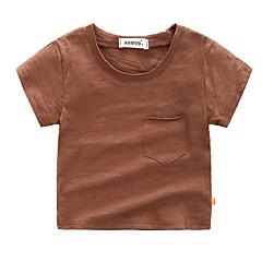 billige Gutteklær-Baby Gutt Grunnleggende Ferie Ensfarget Kortermet Bomull T-skjorte