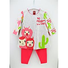 billige Tøjsæt til piger-Spædbarn Pige Aktiv Daglig Blomstret Trykt mønster Langærmet Lang Bomuld Tøjsæt Regnbue 90 / Sødt