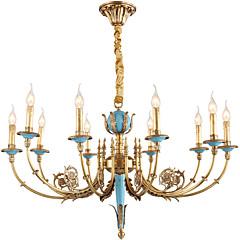 baratos Iluminação Decorativa-ZHISHU 10-luz Estilo de vela Lustres Luz Superior Latão Metal Cristal, Estilo Mini 110-120V / 220-240V Lâmpada Incluída