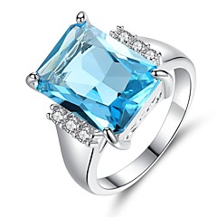 cheap Rings-Women's Synthetic Aquamarine / Cubic Zirconia Band Ring - Vintage, Elegant 6 / 7 / 8 Light Blue For Wedding / Engagement / Ceremony