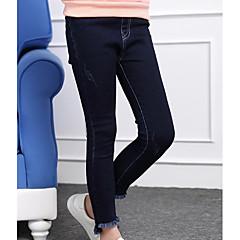 billige Bukser og leggings til piger-Børn Pige Skole Ensfarvet Langærmet Bomuld Bukser / Sødt