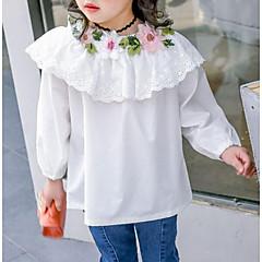 baratos Roupas de Meninas-Para Meninas Simples Sólido / Floral / Bordado Manga 3/4 Algodão Camisa Branco / Fofo
