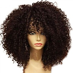 billige Parykker & hair extensions-Ubehandlet Paryk Brasiliansk hår Krøllet Frisure i lag 130% Massefylde Til sorte kvinder Afro-amerikansk paryk Sort Kort Lang Mellemlængde