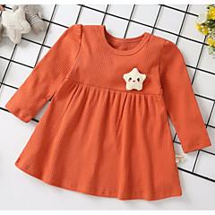 billige Babyoverdele-Baby Pige Daglig Ensfarvet Tunika Langærmet Normal Polyester / Nylon Bluse Lyserød / Sødt