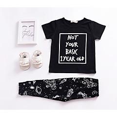 billige Tøjsæt til piger-Baby Unisex Aktiv Ferie Galakse Trykt mønster Kortærmet Bomuld Tøjsæt