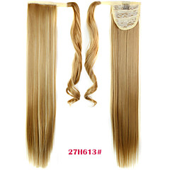 cheap Wigs & Hair Pieces-synthetic hair long ponytail wowen straight clip in ponytail ribbon ponytail hair extension hairpiece fake hair pieces