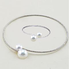 tanie Zestawy biżuterii-Damskie Rhinestone Imitacja pereł Biżuteria Ustaw Zawierać 1 Naszyjnik 1 Bransoletka - Elegancki Modny Europejski Circle Shape Zestawy