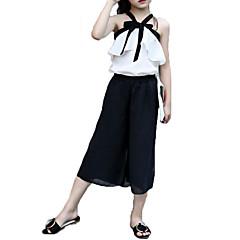 baratos Roupas de Meninas-Para Meninas Conjuntos Fashion Cor Única Laço Verão Algodão Chiffon Sem Manga Conjunto