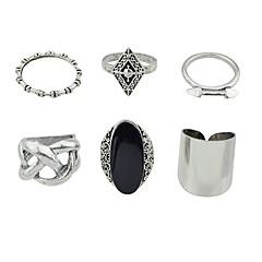 billige Motering-Dame Geometrisk Ring Set - Imitasjonsturmalin, Legering Grunnleggende, Mote 7 Sølv Til Daglig Stevnemøte / 6pcs