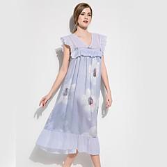 billige Moteundertøy-Dame Dyp V Sateng og silke Pyjamas - Blomstret, Trykt mønster