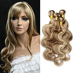 cheap Hair Extensions-3 Bundles Brazilian Hair Wavy Human Hair Ombre Hair Weaves / One Pack Solution / Human Hair Extensions Human Hair Weaves Soft / Ombre Hair / Unprocessed Multi-color Human Hair Extensions Women's