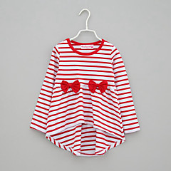 billige Pigetoppe-Baby Pige Daglig Stribet Sløjfer Langærmet Rayon T-shirt Sort / Sødt
