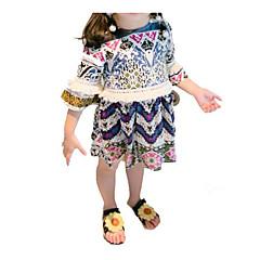billige Babykjoler-Baby Pige Blå & Hvid Trykt mønster Krøllede Folder Halvlange ærmer Over knæet Kjole / Sødt