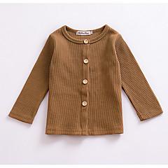 billige Sweaters og cardigans til babyer-Pige Daglig Ensfarvet Trøje og cardigan, Akryl Forår Langærmet Sødt Mørkegrå Kakifarvet