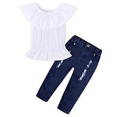 billige Tøjsæt til piger-Pige Tøjsæt Daglig Sport Ensfarvet, Bomuld Forår Sommer Kortærmet Simple Afslappet Hvid