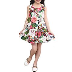 baratos Roupas de Meninas-Infantil Para Meninas Simples / Vintage Festa / Escola / Feriado Floral / Estampado / Jacquard Sem Manga Vestido / Algodão / Fofo / Para Noite