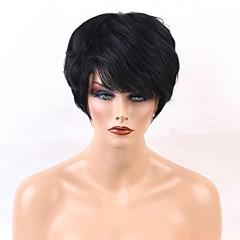 billiga Peruker och hårförlängning-Human Hair Capless Parykar Äkta hår Rak Pixie-frisyr Naturlig hårlinje Natur Svart Maskingjord Peruk Dam