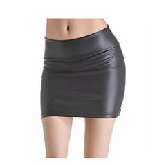 Mulheres Básico Bodycon Saias - Sólido Cintura Alta