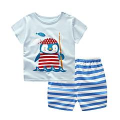 billige Tøjsæt til drenge-Baby Unisex Basale Trykt mønster Kortærmet Bomuld Tøjsæt