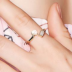 billige Motering-Dame Kubisk Zirkonium Åpne Ring - 18K Gullbelagt, S925 Sterling Sølv Hjerte Dainty, Koreansk Justerbar Gull Til Stevnemøte Valentine