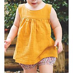 billige Babyoverdele-Baby Pige Basale Ensfarvet Uden ærmer Bomuld Undertrøje og cami-top