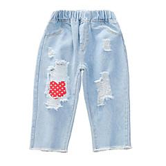 billige Jeans til piger-Børn Pige Aktiv Patchwork Hul Bomuld Jeans
