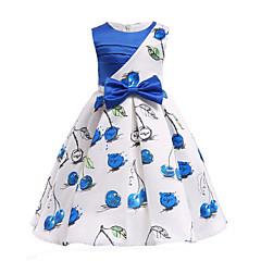 baratos Roupas de Meninas-Infantil Bébé Para Meninas Cereja Azul e Branco Floral Sem Manga Vestido