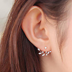 cheap -Women's Cubic Zirconia Stud Earrings - Floral / Botanicals, Leaf, Flower Sweet Gold / Silver For Daily / Street