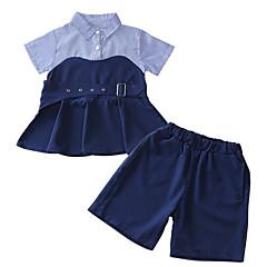 billige Pigetoppe-Børn Pige Ensfarvet Kortærmet Skjorte