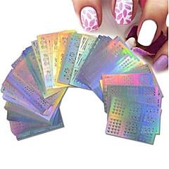 billige Negleklistremerker-63 pcs Artificial Nail Tips Nail Art Kit Negle Smykker Neglekunst Manikyr pedikyr Stilig Design / Kreativ / Hulfiber Nail Decals Daglig / Øvelse / Profesjonell / Nail Smykker