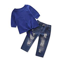 billige Tøjsæt til piger-Børn Baby Pige Ensfarvet Halvlange ærmer Tøjsæt
