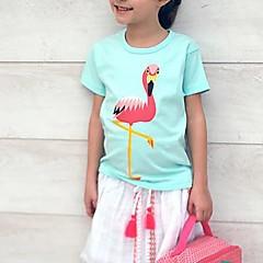 baratos Roupas de Meninas-Infantil / Bébé Para Meninas Guindaste Houndstooth Manga Curta Camiseta