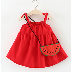 billige Babykjoler-Baby Pige Aktiv Ensfarvet Krøllede Folder Uden ærmer Knælang Bomuld Kjole / Sødt