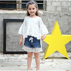 billige Pigetoppe-Børn / Baby Pige Aktiv / Basale Daglig / I-byen-tøj Ensfarvet Drapering 3/4-ærmer Lang Bomuld Bluse Hvid