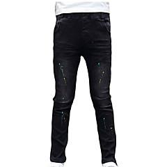 billige Drengebukser-Børn Drenge Basale Daglig / Ferie Prikker / Farveblok Krøllede Folder Bomuld / Polyester Jeans Sort 110